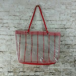 clear bag red stars w Keychain durable see thru